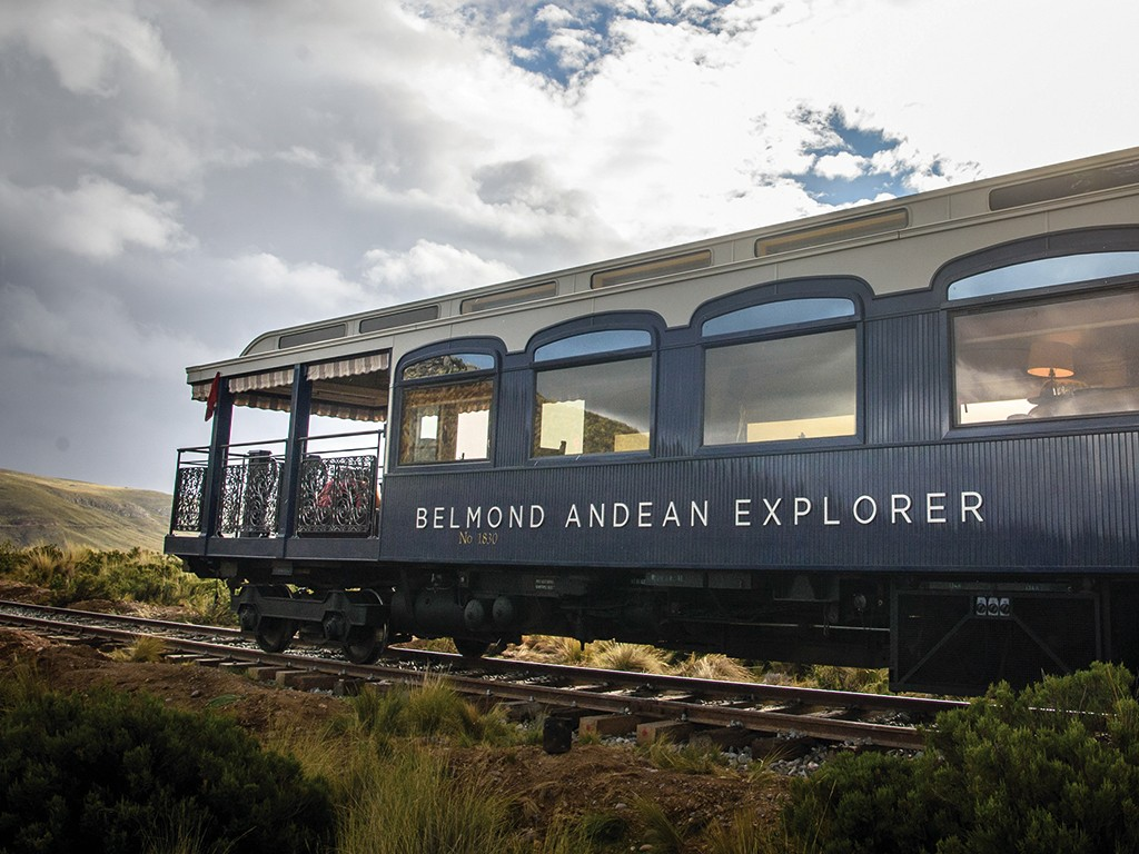 South America's first luxury sleeper train, Belmond Andean Explorer, pictured at Lake Lagunillas, Peru, during its journey between Arequipa, Lake Titicaca and Cusco. The train cuts through some of the most breathtaking scenery in Peru and features 24 cabins, Peruvian cuisine by Executive Chef Diego Munoz, an elegant piano bar and outdoor observation car. Picture credit should read: Matt Crossick